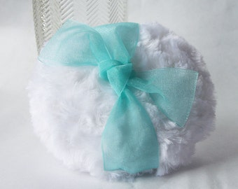 WHITE Dusting Powder Puff with Organza Ribbon  (other ribbon colors available)