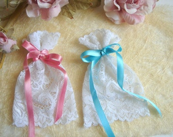Baptism Favor Bags,Lace Favor Bags,Baby Shower Favor, Baby Christening Bags, Vintage Pink Lace Favor Bags,Vintage Favor Bag