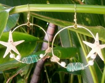 Starfish Mermaid Sea Glass Wire Wrap Earrings, Shell Hoop Earrings, Beach Jewelry