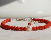 Christmas Bracelet  Coral Pearl Freshwater Genuine Little Girl Child Kids Tween Teen Women Jewelry  Keepsake Special Occasion - JuvyJewels