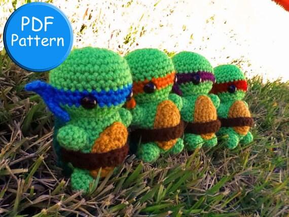 Knitting Pattern For Teenage Mutant Ninja Turtles : PDF PATTERN for Crochet TMNT Amigurumi doll toy plushie