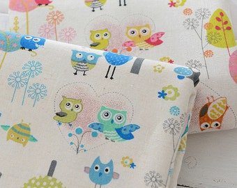 Owls Linen Cotton Fabric Beige With Pink Blue Owls Trees Dandelion - 1/2 yard