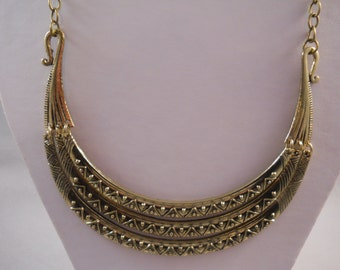 SALE 3 Row Gold  Tone  Bib Necklace on a Bronze Tone Chain