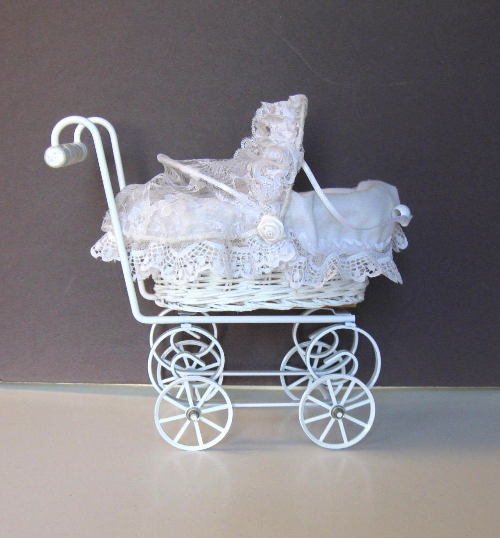 Vintage Toy Baby Carriage Wicker Pram Nursery Decor