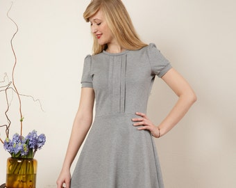 """Dress """"Elisa"""", with a round skirt and decorative falts in light-gray"""