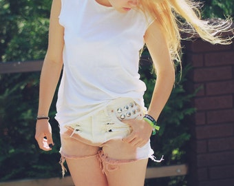 Cut Tee T-shirt Beige Top Sleeveless Summer Bright Clear