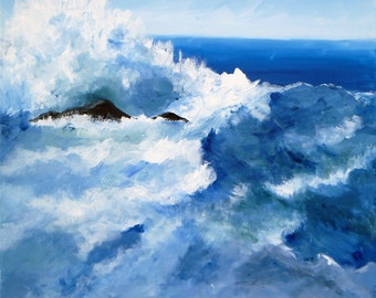 """Original modern impressionist abstract Seascape acrylic painting """"The Wonders of the Sea"""",  20"""" x 24"""" on canvas.  Beach decor."""
