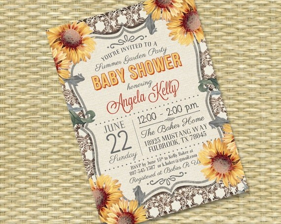 Baby shower invitation printable or printed sunflower baby shower il570xn filmwisefo