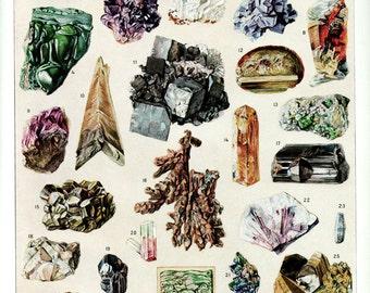 1936 Vintage minerals poster Antique minerals print Geology poster Geology rocks poster illustration Rocks print ore Gemstones poster
