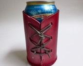 Red leather beverage can holder, beer can holder, beverage can sleeve, drink holder
