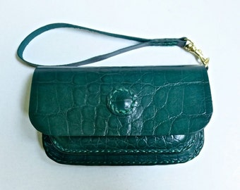 Small jade green leather clutch wallet, wristlet purse, croc embossed leather