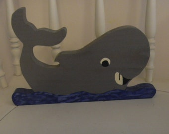 wood whale for childrens room  hang or sit