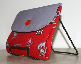 Kindle Fire HDX 8.9 cover, Kindle Fire HDX 8.9 clutch, OSU Buckeyes fabric, custom made