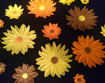 """12 DAISY FLOWERS / 3/4"""" - 2 1/2"""" size variety gum paste / fondant / sugar  flower / Fall/Autumn cake or cupcake decorations / cake topper"""
