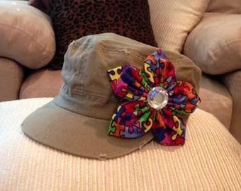 Autism awareness cadet hat w/ fabric flower and rhinestone center embellishment