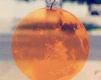Window Moon: Transparent Full Harvest Moon Window Decoration in Fluorescent Orange