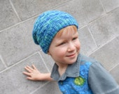 Kids Slouch Hat Slouchy Beanie for Boys and Girls Bright Blue and Aqua Hand dyed Organic Merino Wool Eco Friendly Hand Knit