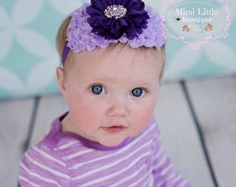 5 DOLLAR SALE-Purple and Lavender Chiffon Headband-  Headband-Baby headband- Newborn headband- Infant headband-Newborn Props