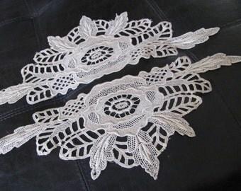 Pair of Vintage Antique Lace Applique Collars Embellishment