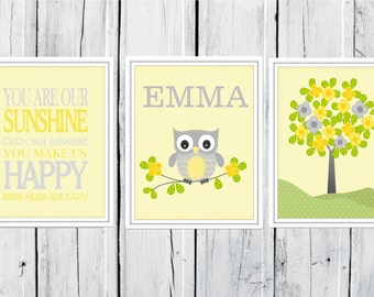 Owl Nursery Prints  - 3 Print Set -  Nursery Decor -  Custom Colors -  You are Our Sunshine - Monogram Nursery Print