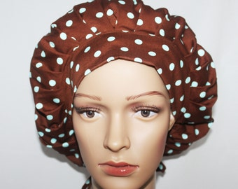 Bouffant Scrub Hat with ties - Robert Kaufman Fabric Bouffant Scrub Hat - Pimatex Basics Aqua Polka Dot Scrub Hat - Ponytail Scrub hat