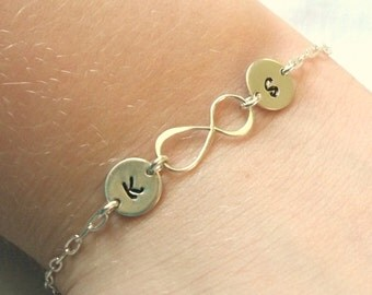 Personalized Infinity Bracelet w/ Two Initials -- Sterling Silver -- Mother's Bracelet -- Gift for New Bride -- Friendship -- MADE TO ORDER