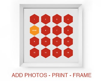 Digital Hexagon Photo Collage Template Storyboard Scrapbooking Photo Board for Baby or Family Photographers Photoshop PSD Scrapbook Template