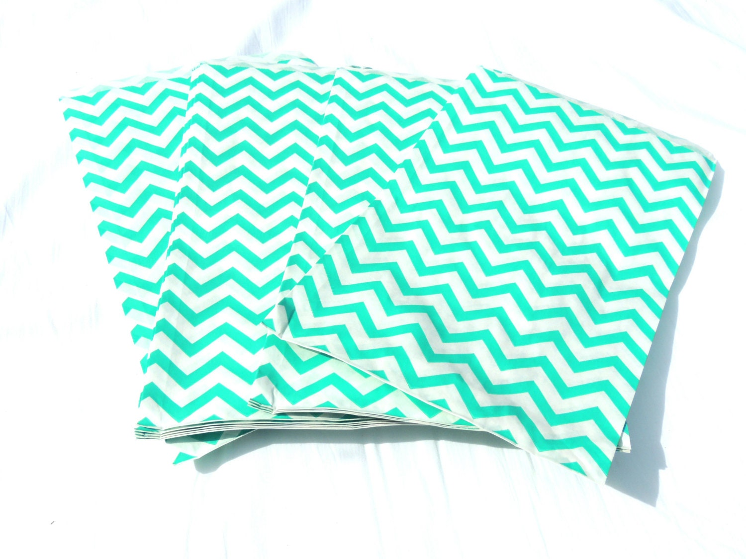 100 Teal Color Chevron 6x9 Inch Treat Bags Striped By