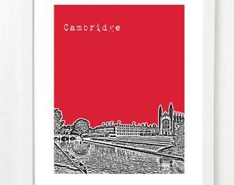Cambridge UK City Skyline Art Print - Cambridge United Kingdom Art Print - Cambridge England Art