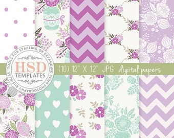 Purple Mint Shabby Chic Digital Paper - Floral Digital Scrapbook Paper - Digital Backgrounds - Chevron Digital Paper - Mason Jar DP131