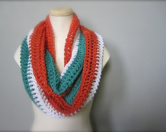 Crochet Teal Turquoise, Orange, and White NHL, Hockey, Football, Soccer, Miami Dolphins Colors Infinity Scarf, Men's Scarf, Unisex Scarf