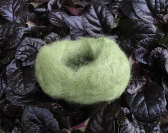 Oval Shaped Green Wool Felted Bird Nest