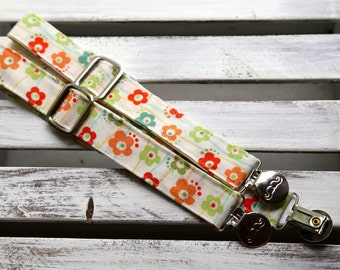 Mod Flowers Suspenders  (Cream, Green, Orange, Blue and Red)