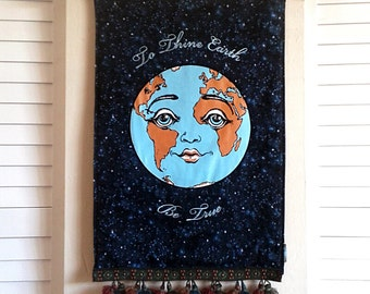 Earth Tapestry- Handmade World Peace Tangka - Embroidered Gaia Art Quilt with Tassels- To THINE EARTH be TRUE