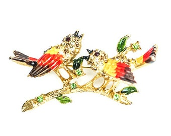 Rhinestone Bird Brooch Pin Fall Orange SIGNED KRAMER Enamel