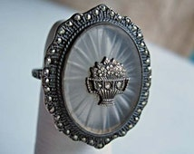 Art Deco Camphor Glass Ring, Vintage Sterling Marcasites Ring, Flower Bouquet Accent