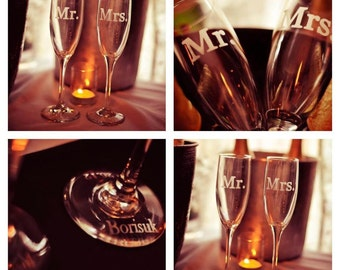 Wedding Toasting Flutes, Champagne Flutes, Mr Mrs Personalized