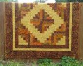 King/Queen Batik Log Cabin Quilt - Tuscan Sun