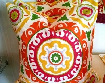 Pillow Cover, 18 x 18 Pillow Cover-Citrus Suzani fabric-Decorative Pillow Cover, Accent Pillow, Throw Pillow, Toss Pillow