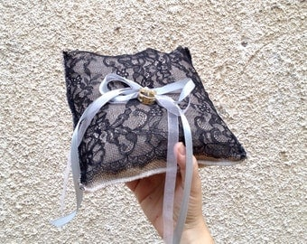 Ring pillow, burlap linen and black lace  with organza and satin ribbons, wedding ring pillow, ring bearer pillow