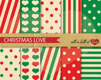 CHRISTMAS Background Graphics RED Green Digital Scrapbooking Papers christmas wrapping