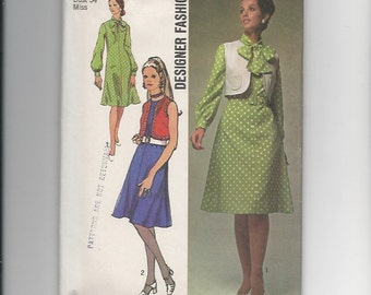 Vintage Sewing Pattern Simplicity 9261 for Dress and Bolero, Sz 12, 1970s