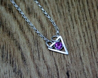 Pink Topaz Triangle Necklace, Geometric Pendant, Ready to Ship