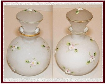 VERY RARE Vintage Frosted Glass Set of Perfume Bottles / Flowers and Gold Trim