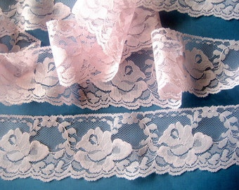 "Roses Scalloped Lace Trim, Pink, 2 3/8"" inch wide, 1 Yard, For Victorian & Romantic Projects"