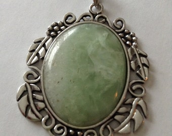 Green Quartz in Antiqued Silver Mounting