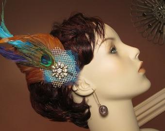 Malena Feather Fascinator, bridal fascinator, wedding fascinator, vintage, headpiece