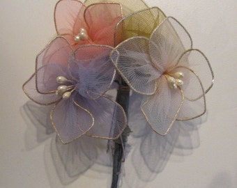Vintage  Nylon Stocking Flower Pin