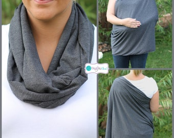 Charcoal Gray Solid Hold Me Close Nursing Scarf, Nursing Cover, Infinity Nursing Scarf, Nursing Poncho
