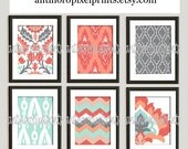 Coral Mint Green Grey Ikat Digital illustration Wall Art - Set of 6 - 8x10 Prints - Featured in Coral Turquoise  (UNFRAMED)